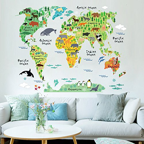 Cartoon background colorful english words world map wall art decals gumiabroncs Image collections