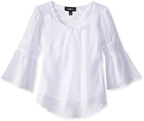 Amy Byer Big Girls Top With Lace Inset Bell Sleeves A