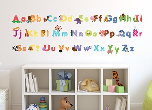 Animal alphabet wall decals baby and toddler wall decor for Wall letters kids room