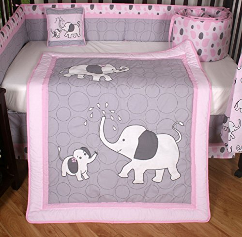 Boutique Pink Gray Elephant 13pcs Crib Bedding Sets A