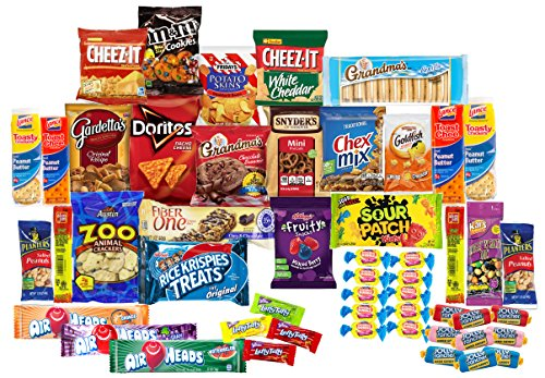 Care Package with 50 Sweet Salty Snacks Variety Snack Box for Military