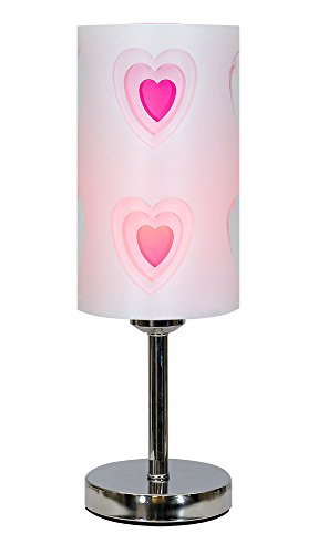 crown essentials 52833 heart 3 way touch table lamp white fuschia a. Black Bedroom Furniture Sets. Home Design Ideas