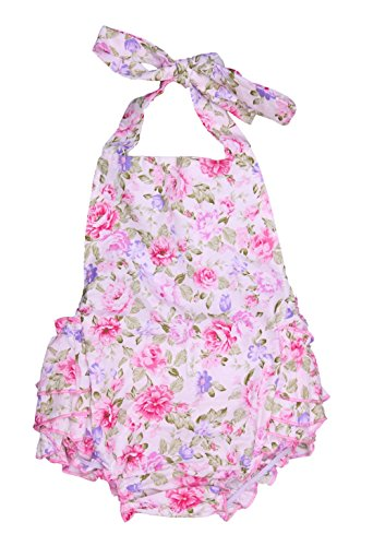 DQdq Baby Girls Floral Print Ruffles Romper Summer Dress