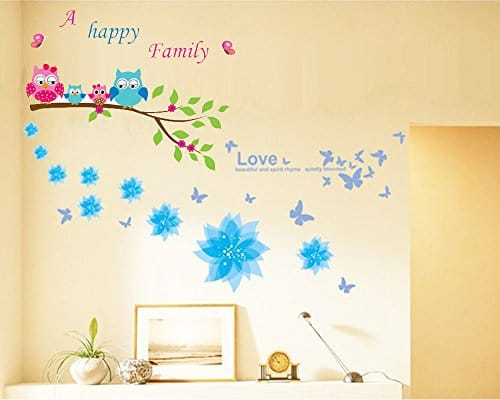 Dago© Owl and Flowers Happy Family Wall Stickers & Murals Wall ...