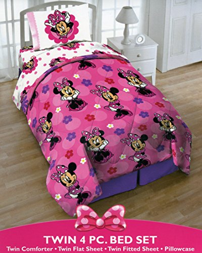 Disney Minnie Mouse Twin 4 Piece Bedding Set With Tote