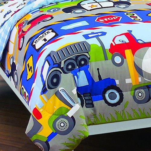 Dream Factory Trucks Tractors Cars Boys 5 Piece Comforter