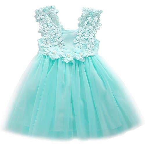 Elegant Feast Baby Girls Princess Lace Flower Tulle Tutu