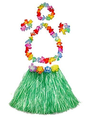 Girlu0027s elastic Hawaiian hula dancer grass skirt with flower costume set-green - A Kids Boutique  sc 1 st  A Kids Boutique & Girlu0027s elastic Hawaiian hula dancer grass skirt with flower costume ...