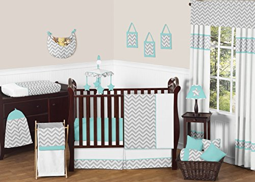 Gray And Turquoise Chevron Zig Zag Gender Neutral Baby Bedding