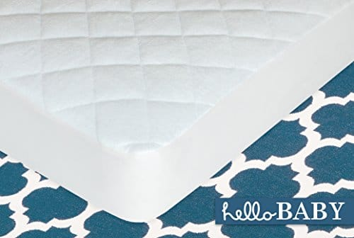 Hello Baby Waterproof Crib Mattress Cover Quilted Ultra Soft White