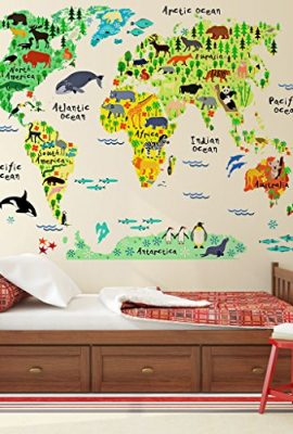 Airplane world map decal clear vinyl decal boys room apollos kids eveshine animal world map peel stick nursery wall decals world map decal for kids room gumiabroncs Images