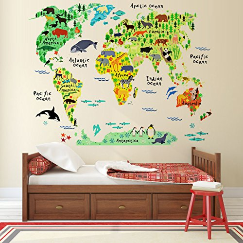EveShine Animal World Map Peel U0026 Stick Nursery Wall Decals Stickers