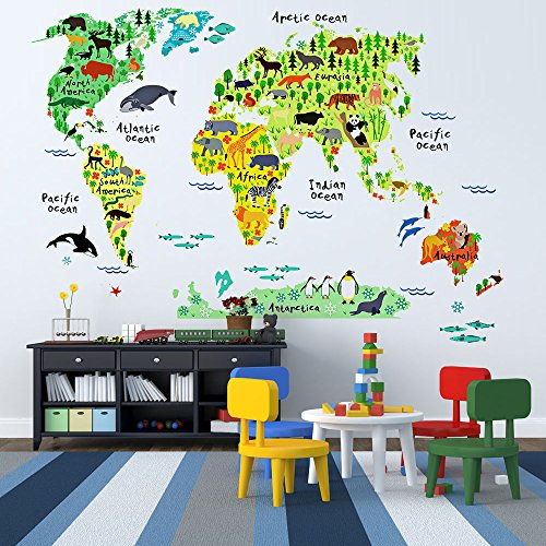 EveShine Animal World Map Peel Stick Nursery Wall Decals - Kids world map wall decal