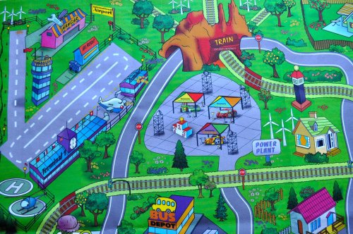 Large Quot My Town Quot Play Mat With Airport Town Train Tracks