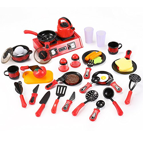 Liberty Imports 44 Piece Mini Breakfast Stove Kitchen Appliance Play Food  Toy Set for Kids