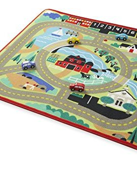 Melissa Doug Round The Town Road Rug And Car Activity Play Set With 4 Wooden Cars 39 X 36 Inches