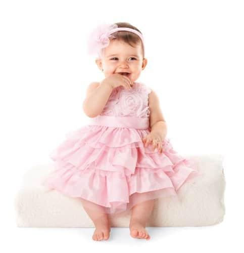 Mud Pie Baby Girls Rosette Layered Dress