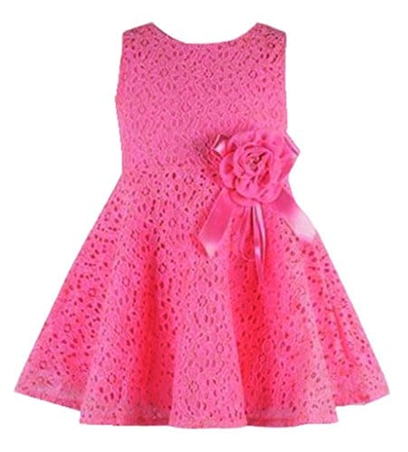 275c551bf Rorychen Cute Baby Girls Sleeveless Lace Pleated Dress with Flower  Party(0-24M)