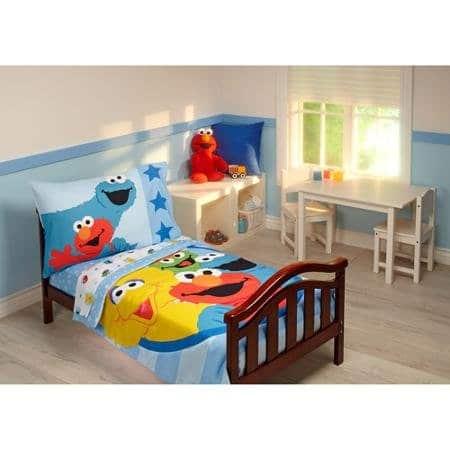 Sesame Street Furry Friends 4 Piece Toddler Bedding Set