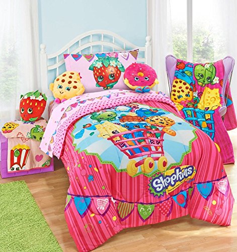 shopkins kids 5 piece bed in a bag twin size bedding set