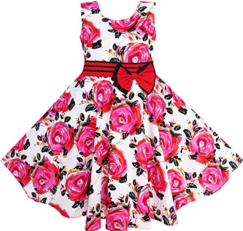 34ad6558ff4 Sunny Fashion Girls Dress Red Rose Party Summer Cotton - A Kids Boutique