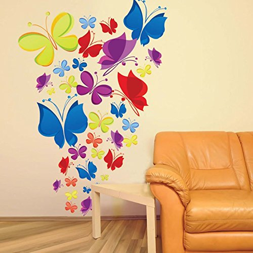Wall Decals Rainbow Of Butterflies U2013 Easy Peel U0026 Stick Wall Art ...